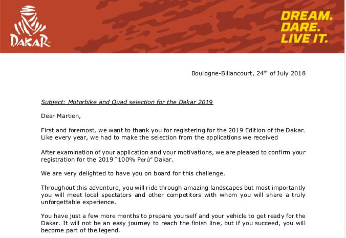 Officieel toegelaten tot Dakar2019!